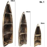 Preisvergleich für Oriental Galerie Bootsregal Badschrank Handtuchregal Boot Regal Schrank Standregal Asien Holz Braun Whitewash 95 cm Nr. 3