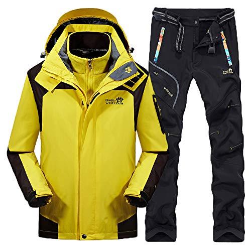 Männer Frauen Ski-Anzüge Winter verdicken Warmhalten Outdoor Bergsteigen Anzug Furnier Double Board Paar Jacken, gelb männlich + schwarz, L