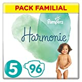 Pampers - Harmonie - Couches Taille 5 (11-16 kg) Hypoallergénique - Pack Familial (96 couches)
