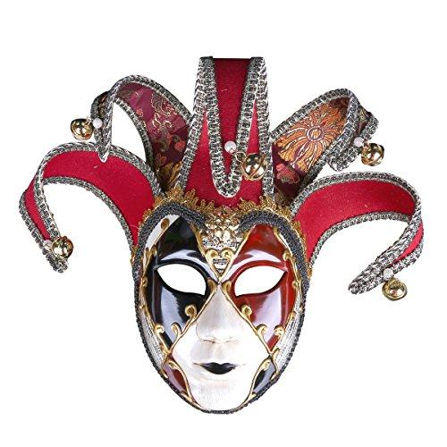 (Bemalte Halloween-Party-Party Maske Gehobene Venedig Lady Performance Maske,Red)