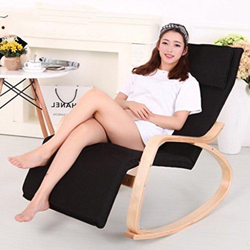Lazy Sofa LI Jing Shop - Détendez Chaise berçante Chaise Longue avec Tissu de Coton et Repose-Pieds réglable et Oreiller Confort (Couleur : Noir)