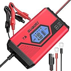 SUAOKI ICS7 12V Batterie Ladegerät(7A/ 3.5A) LCD Bildschirm für KFZ, PKW, Auto, Motorrad, Schneemobil, ATV, Boot, Rasentraktor und mehr
