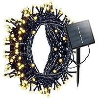 Aznoi Exterior 200 LED energía solares impermeables decoración de Navidad, cable 22 m, 8 modos para jardin, boda, casa, fiesta, árbol, patio, plaza - Blanco cálido