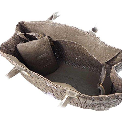 italienischer Luxus großer lederner handgewebter Handtasche Ghibli lila Totebeutelbeutel taupe qawd5FnWx4