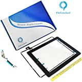 iPad 2 Screen replacement,iPad 2 Front Touch Digitizer Assembly Replacement include Home Button +Camera Holder + Adhesive pre-installed+Middle Frame Bezel+WIFI Antenna Cable (Black)