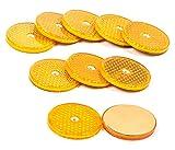 Reflektoren-Set 10 Stück sebstklebend geschraubt, rund, 6,2 cm, lieferbar in den Farben Gelb, Rot oder Weiß (Gelb)