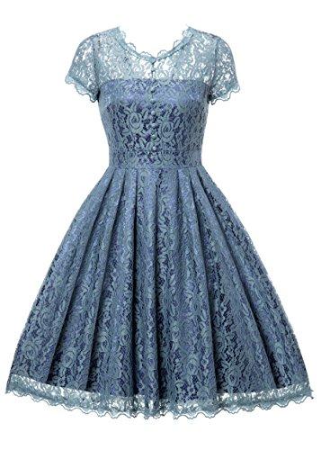 Gigileer Elegant Damen Kleider Spitzenkleid Cocktailkleid Knielanges Vintage 50er Jahr hochzeit Party (XXL(DE 48), Airy blau)