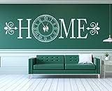 tjapalo® w-pkm262 XXL Wanduhr Wandtattoo Uhr Wohnzimmer Wandsticker Wandaufkleber Spruch HOME mit großem Uhrwerk (Breite 200cm x Höhe 58cm)