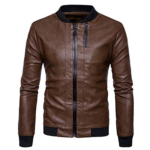 Tianzhiyi Frühlings- und Sommermode Doppelter Reißverschluss mit RIPP-Einsätzen PU-Lederjacke Epaulet Design Wollmischung Faux Twinset Jacket (Color : Brown) - Epaulet Design