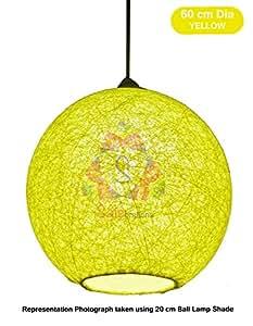 Salebrations 60 cm Dia Yellow Hanging Ball Lamp Shade With Yarn And Led Bulb