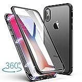 YuhooTech Upgraded Version iPhone XS/iPhone X Coque, Adsorption Magnétique Housse Avant et Arrière Verre Trempé Couverture Plein écran Couverture à Rabat Design(Noir Clair)