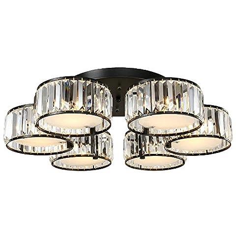 DPG Modern K9 Crystal Deckenleuchten Fixture Acryl Schatten 6 Birnen E27 mit schwarzem Eisen Halter für Wohnzimmer Schlafzimmer (Birne nicht inbegriffen)