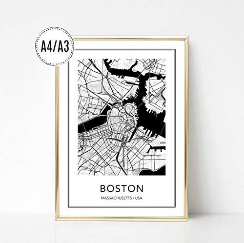 Poster Karte BOSTON, Stadtplan, City Map, Kunstdruck, Print, Wandbild, schwarz weiss, minimalistisch, modern, Format: DIN A4 / DIN A3