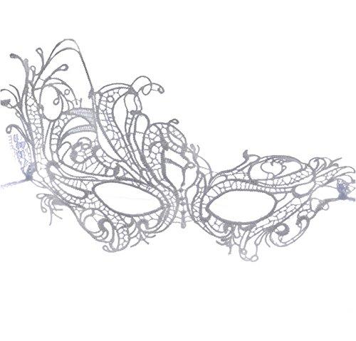 Ruikey Venezianische Maske Masquerade Schmetterling Maskenball Masken Venedig Maskerade Maske Damen Halloween Cosplay (Für Maskerade Masken Silber Abschlussball)