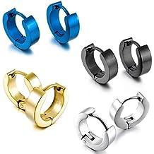 MunkiMix Acciaio Inossidabile Stallone Cerchio Orecchini Nero Blu Argento Oro Due Tono Plain ( 4 Coppie )