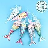 Aparty4u Sacchetti regalo Sirena, Set di 48 sacchetti decorativi per bomboniere a forma di sirena Scatole di carta caramelle per bambini Baby Shower Sirenetta per feste