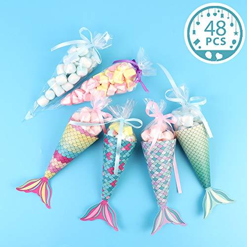 Aparty4u Mermaid Gift Bags, Set von 48 dekorativen Mermaid Party Favor Bags Süßigkeitspapierboxen für Kinder Baby Shower Little Mermaid Party Supplies