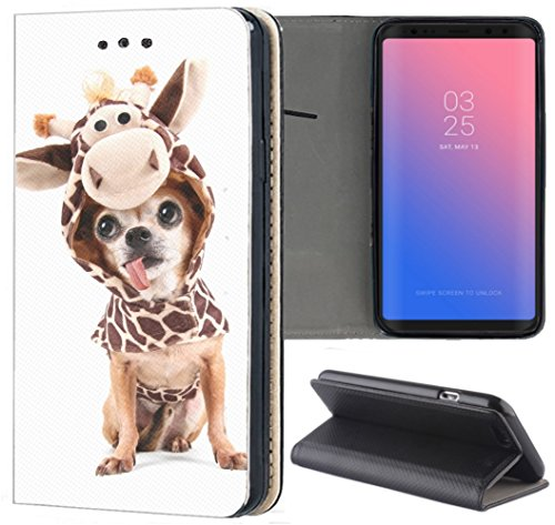 Apple iPhone 5 / 5s / SE Hülle Premium Smart Einseitig Flipcover Hülle iPhone 5 / 5s Flip Case Handyhülle Apple iPhone 5 Motiv (535 Hund mit Kostüm Chihuahua Dog)