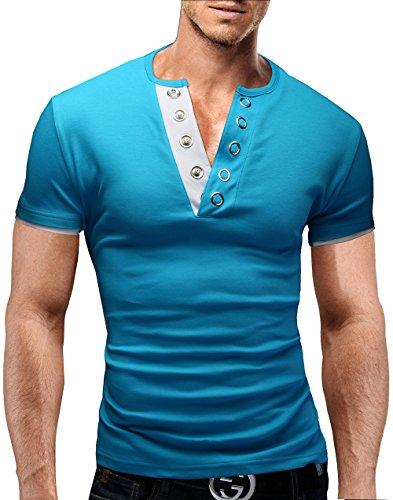 MERISH Herren Poloshirt Slim Fit V-Ausschnitt Kurzarm T-Shirt Hoodie 71 Türkis-Weiß