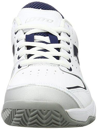 Lotto Sport Raptor Lth Cly, Chaussures de Tennis Homme Blanc (Wht/blu Avio)