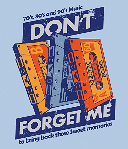Bedrucktes Herren Musik Kassetten Tape T-Shirt Sweet Memories Hellblau