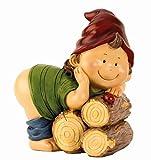 Gartenzwerg nackter Po 21,5 cm x 18 cm Zwerg Gnom Wicht Figuren für Haus und Garten