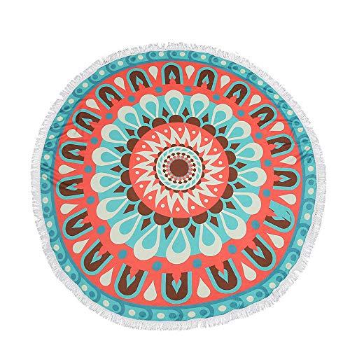 YEARNLY Indien Strandtuch Rund Mandala Hippie/Groß Indisch Rundes Baumwolle/Boho Runder Yoga Matte Tuch Meditation/Tischdecke Rund aufhänger Decke Picknick handgefertigt Teppich 150x150 cm