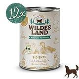 Wildes Land | Nassfutter für Hunde | Bio Ente | 12 x 400 g | Getreidefrei & Hypoallergen | Extra hoher Fleischanteil von 60% | 100% zertifizierte Bio-Zutaten Akzeptanz und Verträglichkeit