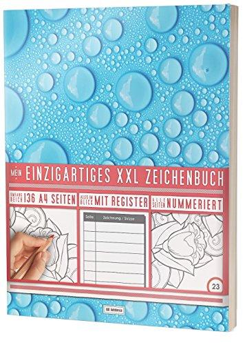 """Mein Einzigartiges XXL Zeichenbuch: 136 Seiten, Nummeriert, Register / Dickes Skizzenbuch / PR601 """"Blue Raindrops"""" / DIN A4 Soft Cover"""