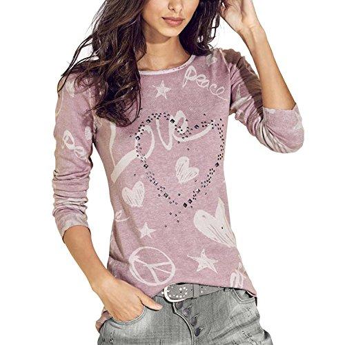 Juleya Damen Langarm Rundhals Pullover - Frauen Cartoon Herz Lose Sweatshirt Oberteil Tops Hemd Blau, Kaffee, Grau, Rosa (Jeans Flare Herz)