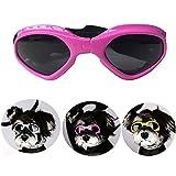 Hundebrille Sonnenbrille UV Schutzbrillen Wasserdichten Schutz Sun-Brille fuer Hunde, Hund Goggles Anti-Beschlag Brille Augenschutz Schutzbrille mit abnehmbarer Trageriemen (Rosa)