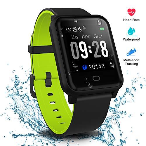 Fitpolo Reloj Inteligente Hombres,Smart watch Mujeres Rastreador de ejercicios a prueba de agua IP68 con monitor de sueño,Contador de calorías por pasos,Cronómetro,para iPhone Teléfono Android (Verde)