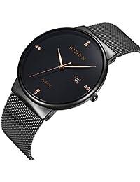 Mens Watches Unisex Casual Analog Quartz Dress Wristwatch with Black Stainless Steel Mesh Bracelet