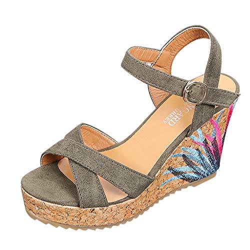 Sandalia Tacon Mujer KanLin1986 Alpargatas de Cuña de Mujer Zapatos Plataforma Mujer Verano 2019 Zuecos...