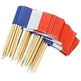 Sharplace 50x Land Flagge Picks Papier Zahnstocher Lebensmittel Kuchen Cocktail Dekor - Frankreich, 3,5 cm x 2,5 cm