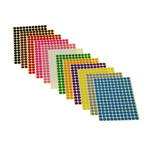 LJY Ronda Dot pegatinas codificación de Color etiquetas, 12diferentes colores variados lunares etiquetas, 12hojas