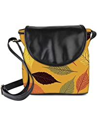 Snoogg Seamless Pattern With Leaf Womens Sling Bag Small Size Tote Bag