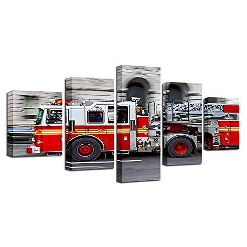 FENDOUBA Leinwände Leinwandbild Feuerwehrauto Dekorative Gemälde Abstraktes Ölgemälde Schlafzimmer Wohnzimmer Typografisches Poster Wasserdicht verblassen Nicht 5-teiliges Set modern