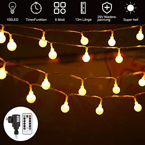 100 LED Glühbirne Lichterkette Warmweiß outdoor, 13.3 m GreenClick Innen und Außen Lichterkette mit Fernbedienung,Globe Lichterkette strombetrieben,Lichterkette für Balkon, Party, Weihnachten,Garten (Outdoor-lichterkette Globe)
