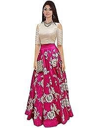 Shree Women's Silk Unstitched Lehenga Choli (SRENT001_Multi-Coloured_Free Size)