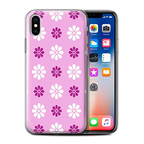 Stuff4 Gel TPU Hülle / Case für Apple iPhone X/10 / Beige Muster / Muster mit Blütenblättern Kollektion Rosa