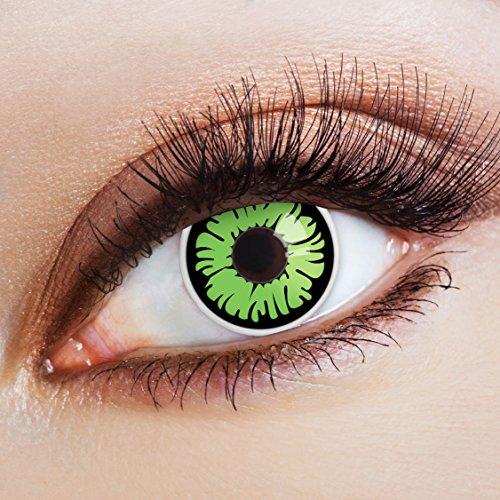 Kostüme Halloween Monster Gruselig (aricona Farblinsen Farbige Kontaktlinse Green Apple   – Deckende Jahreslinsen für dunkle und helle Augenfarben ohne Stärke, Farblinsen für Karneval, Fasching, Motto-Partys und Halloween)