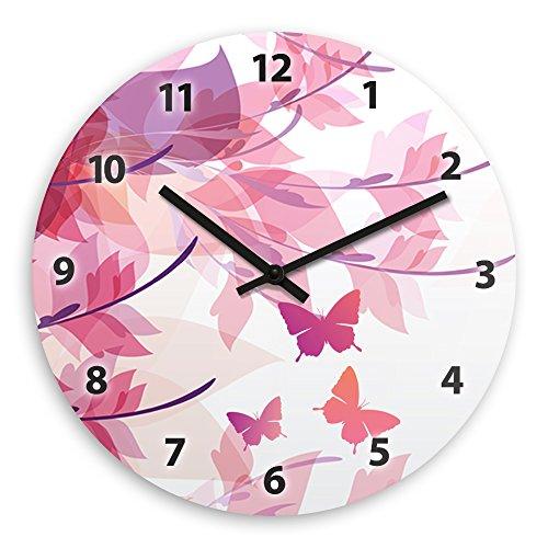 Wanduhr mit schönem Motiv mit Schmetterlingen für Mädchen | Kinderzimmer-Uhr | Kinder-Uhr