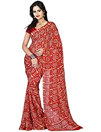 Aaradhya Fashion Women's Crepe Saree With Blouse Piece (Afmoss-0171 _Red)