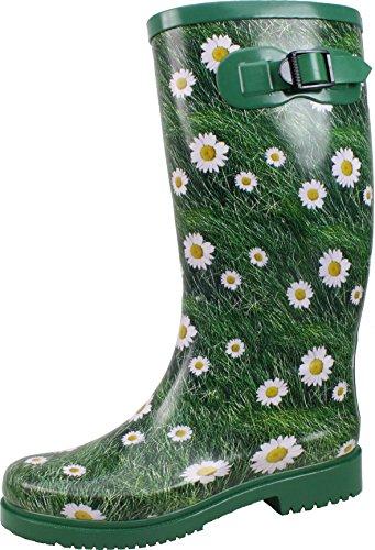 BOCKSTIEGEL® WIEBKE Donna - Stivali di gomma   Taglie 36-42   Stivali da giardino   Stivali di fango   Stivali da pioggia   Margherite Stilo   Fibbia decorativa Green/Multi