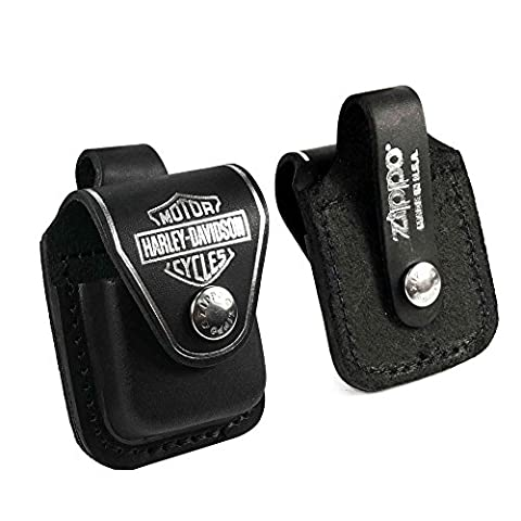Zippo Harley Davidson lighter case - Genuine Leather Black - ZHDPBK