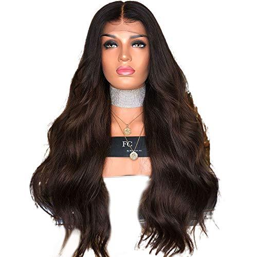 BXGZXYQ Damen schwarz und braun gemischte Farbe Highlights Farbverlauf Lange Haare Perücken Composite Haar Lace Perücke Rollenspiel Perücke (Farbe : Photo Color, Size : 65cm) -