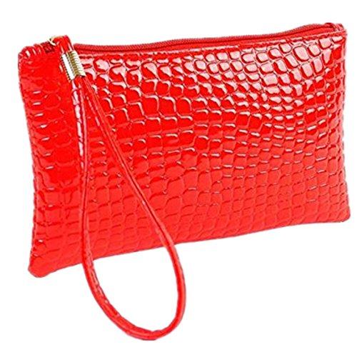 ZARU Frauen-Krokodil-Leder-Kupplungs-Handtasche, Münzen-Geldbeutel (Rot)