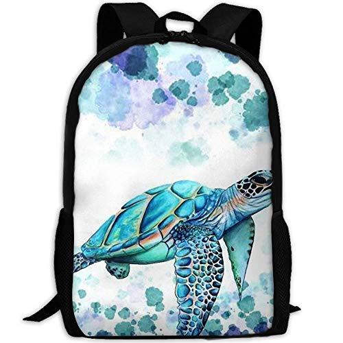 TTmom Schulrucksack,Schüler Bag,Rucksack Damen Herren Stylish Cartoon Turtle Green Ocean Laptop Backpack School Backpack Bookbags College Bags Daypack Ocean Green