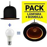 Barcelona LED LV201-K Pack Lámpara Bombín / Sombrero Inglés + Bombilla LED A60 10W en Color Blanco Cálido (Equivalente a 60W)